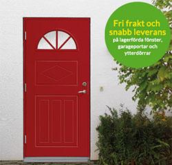 Fri frakt på dörrar och garageportar i hela juli